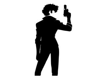 Cowboy Bebop Spike Spiegel full silhouette Vinyl Decal for cars, windows, laptops, or any hard smooth surface.