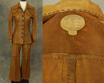 vintage 60s 70s North Beach Leather Suit -  Whipstitched Leather Jacket & Sailor Bellbottoms - Hippie Rockstar Leather Pants Jacket Sz XS S