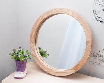 Round Wood Mirror, Round Decorative Wall Mirror, Ash White Wood Mirror Frame, Wall Mirror, Wall Decor, Round Framed Wall Mount Mirror