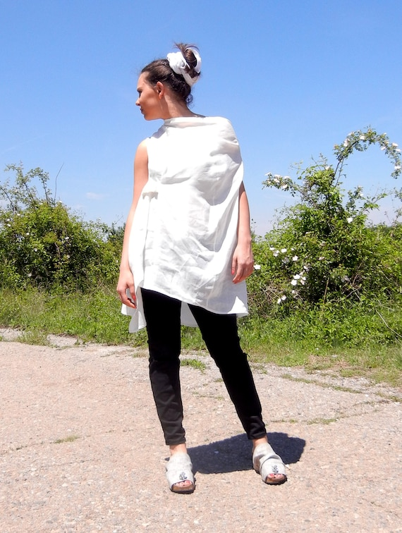 Linen Baggy White Summer Alternative Top Tunic, Original Strap Open Back Tunic, Halter Top Tunic, Smock Avant Garde One Shoulder Top Tunic