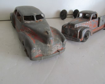 Gangster Car Art Deco Toy Car Coupe Chippy Red Pain Wooden Wheel Cars Antique Toy Car Old Metal Toy Cars Antique Cars