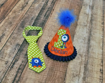 Little Monster Orange Blue Lime Party Hat and Little Guy Tie - Lil Monster First Birthday Party Cake Smash Outfit