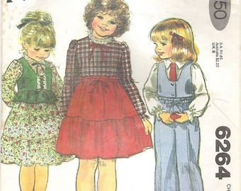 ON SALE 1970's Sewing Pattern - McCall's 6264 Child's vest blouse skirt pants, Size 6X, - factory folded and complete