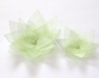 2 Pale Green Organza Flowers Embellishment