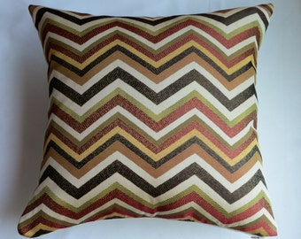 Chevron  Pillow Cover in Spice-  Orange, Green, Brown and Ivory  from Jaclyn Smith Home Collection with Trend Fabrics