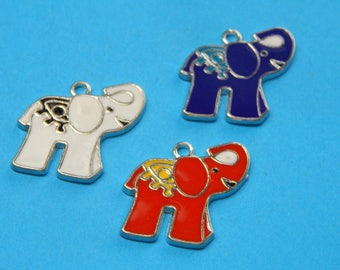 1, Elephant Charm, Enamel Charms, Elephants, Lucky Elephant Gifts, Elephant Jewelry, Elephant Pendants, Elephant Lovers, Bulk Lot, #82B