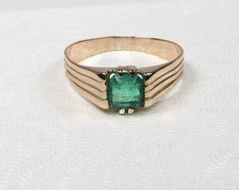 Yellow Gold Emerald Ring; Emerald Ring; Birthstone Ring; May Birthstone; 14 Karat Yellow Gold Emerald Ring; Emerald; Natural Emerald