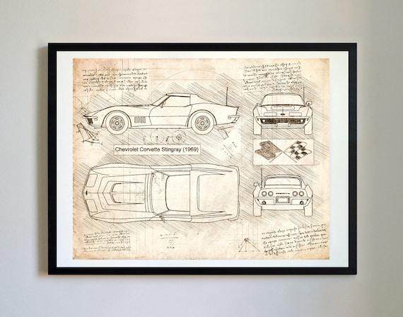 Chevrolet corvette stingray 1969 corvette artwork blueprint chevrolet corvette stingray 1969 corvette artwork blueprint specs blueprint patent prints posters decor art car art cars 213 malvernweather Images