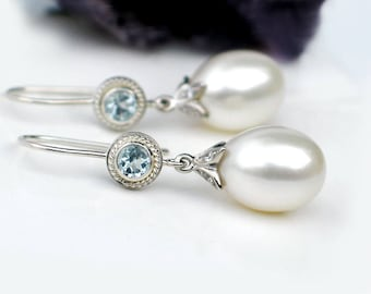 Large White Pearl Earrings | Freshwater Drop Pearl | Sky Blue Topaz Sterling Silver Dangles | Bridal Jewelry | Birthday Gift | Ready to ship