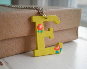 Yellow Letter E Initial Necklace - Hand Painted Wooden E Pendant Personalized Jewelry Gift - Tiny Orange Flowers Boho Floral Charm Necklace