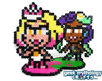 Pearl and Marina Set - Splatoon -  Nintendo - Perler Bead Sprite Pixel Art Figure Stand