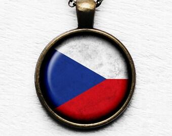 Czech Republic Czechoslovakian Flag Pendant & Necklace