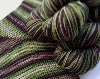 Hand dyed self striping merino sock yarn - Mirkwood