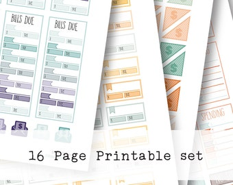Inkwell Press Planner & other planners Spending Printable Sticker Kit - Instant Download