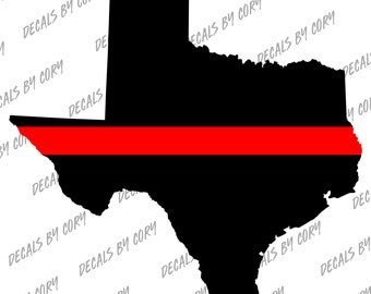 Texas State  Thin Red Line  Outline Car Decal Houston San Antonio Dallas Austin Fort Worth  Fire Fighter Fire Department Rescue