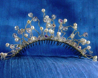 Sterling Silver, Swarovski Crystal and Freshwater Pearl Bridal Comb / Free Spirit French Twist Comb