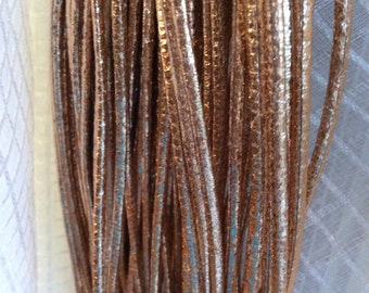 Rose gold metallic distressed faux leather cord 3mm rustic boho vegan jewelry making supplies