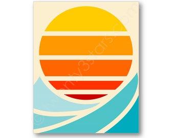Sun and Surf Poster, Ocean Wave Art, Modern Sun Canvas, Sun Art, Sun Canvas Art, Sun Rise Poster, Retro Sun Art, Sunrise Wall Art Poster