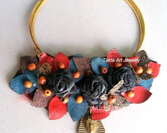 Leather necklace, handmade, multicolor