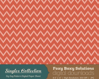 Red Zig Zag Printable Digital Paper - Instant Download Supply for Scrapbooking & Crafting - Single Sheet Paper Printables