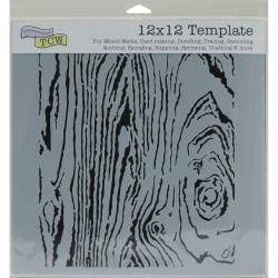 "Woodgrain 6 x 6"" Stencil /  template a Jaime Echt design perfect for mixed media, scrapbooking, journaling and so much more"