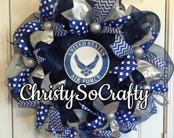 FAST FREE SHIPPING  Air Force, Army, Navy, Marines, Coast Guard, Military wreath