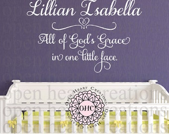 All of Gods Grace in One Little Face Wall Decal with Personalized Baby Name - Baby Nursery Wall Decal Saying Quote  CB0012