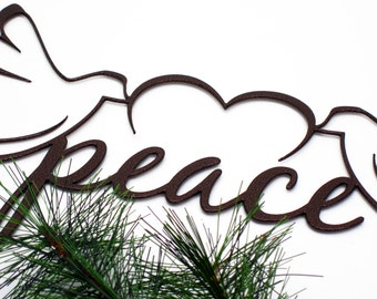 Christmas Peace Doves Metal Sign - Copper, 19x9, Christmas Decor, Christmas Gift, Xmas Decor, Christmas Decor