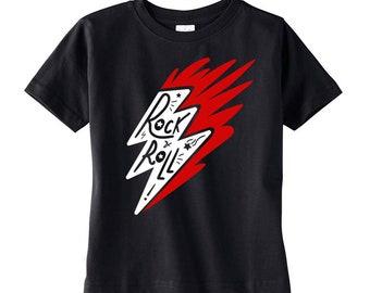 Rock N Roll Thunderbolt Toddler Black Shirt
