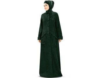 MyBatua Damenfront offen abaya AY-373 | schöner Jilbab | ethnische islamische Kleidung | muslimisches Kleid | Burka online | Damen Maxi