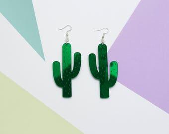 Shiny Cactus Earrings - Plant Earrings - Cute - Kawaii - Big Earrings - Statement Jewellery - Laser Cut Acrylic jewelry