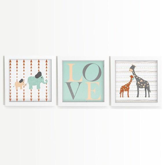 Jungle Animals - Zoo Animals - Zebra Print - Giraffe Print - Elephant Nursery Wall Art - Nursery Safari Decor - Giraffe Art - Zebra Decor