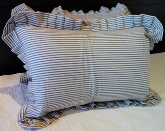 Set of 2 Standard Ticking Pillow Shams in Blue Ticking Pillow Shams with Envelope Closure Ruffled Pillow Shams Country Chic