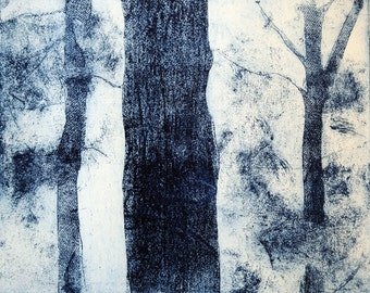 Blue Trees in Paris, etching