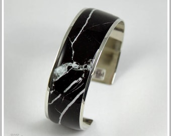 2 cm silver plated Cuff Bracelet marble black Alicia