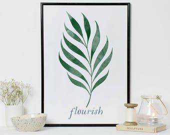 Flourish Botanical Print | Tropical Print | Palm Leaf Print | Housewarming gift | Gardeners Gift | Gardening Print | Botanical Print
