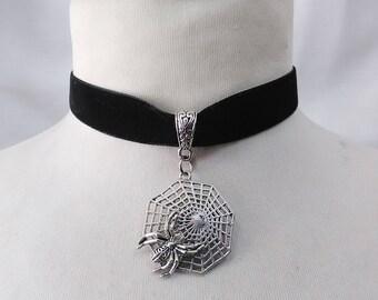 Spider and web Charm Pendant , black  Velvet Ribbon Choker Necklace