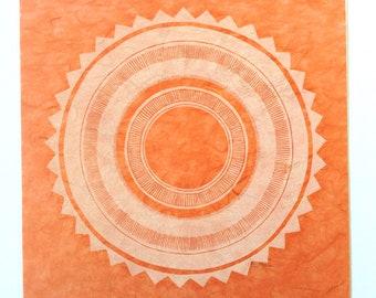linocut - SUN STAR // 12x12 art print // printmaking // block print // white ink // geometric // orange // original art // mandala // 10x10