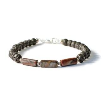 Lava Stone & Tiger Iron Gemstone Diffuser Bracelet,  Essential Oil Jewelry
