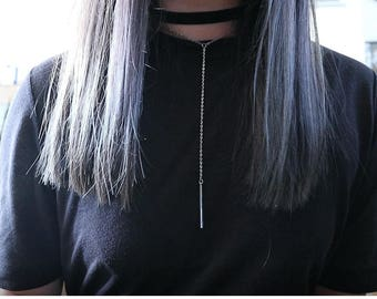 Black Velvet choker with silverplated necklace and a bar pendant