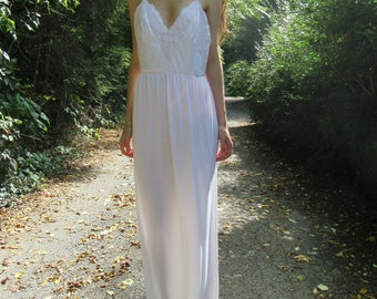 melodies-organic cotton bamboo paired with vintage 70's white floral lace bohemian hippie romantic wedding maxi dress medium