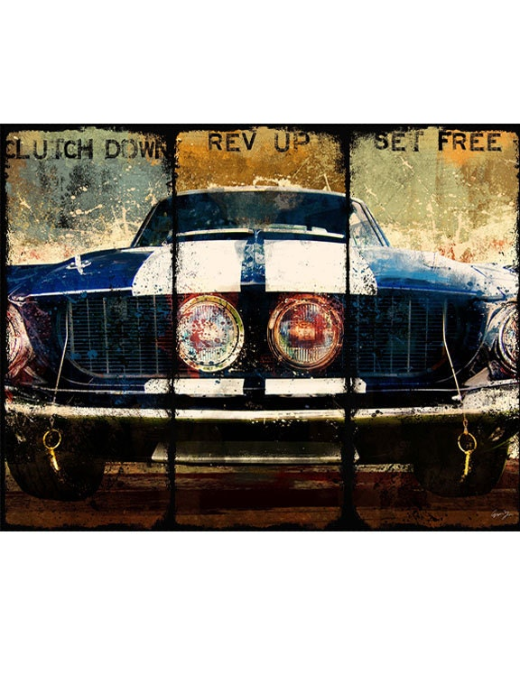 Clutch down gicle canvas art vintage mustang blue art print zoom malvernweather Choice Image