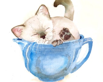 Siamese, Kitten, Art  Print, Kitty, Blue, painting, Himalayan, Cat, Framed painting, Original, Watercolor, Nursery, Wall art, Decor, 10 x 8