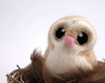Needle Felted Barn Owl Felted Miniature in Light Sandy Beige