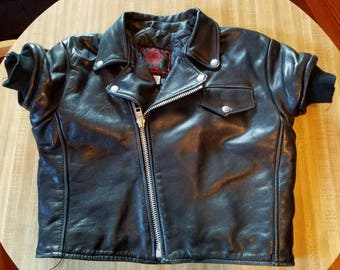 Vintage Fashions by Rose Leather Short Sleevee Biker Jacket Womens Size M Made in the USA As Is 1980s Punk