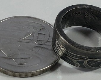 Size 9-14  1973 Australia Platypus 20 Cents Coin Ring