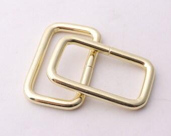 """1""""inch(25mm) Rectangle rings Light gold rectangular buckles Purse ring Strap Rectangle Ring purse supplies bag findings"""