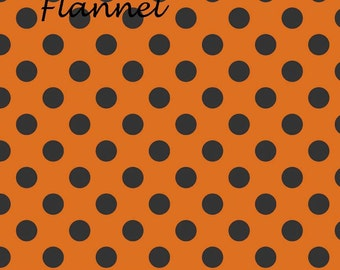 Halloween Flannel, Black & Orange Flannel Fabric, Riley Blake F430-02  Orange Halloween Dot Flannel, Cotton Flannel