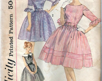 """Vintage 1960's Simplicity 3782 Simple To Make Dress- Full Skirt. Sewing Pattern Size 13 Bust 33"""""""