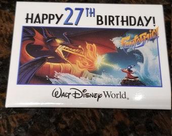 27th Birthday Walt Disney World Pin Pinback Button Fantasmic Fantasia